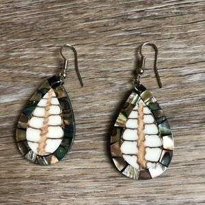 Gorgeous abalone and wood inlay tear earrings